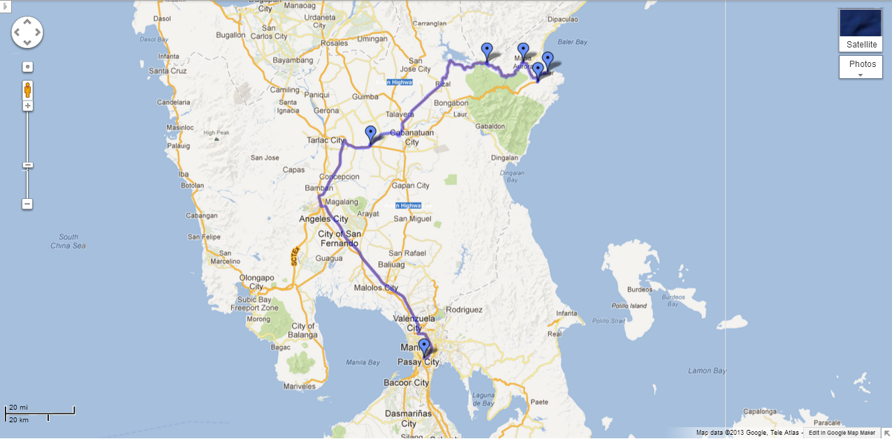 Makati to Baler: 8 hours.